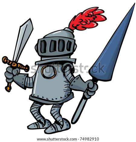 Cartoon knight in armour with a spear. He is isolated on white