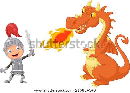 cartoon knight with fierce