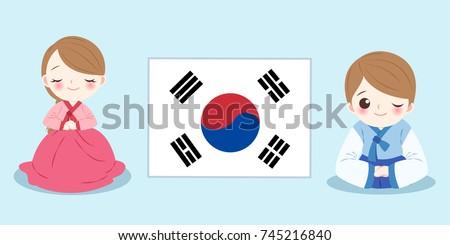 cartoon korea people on the