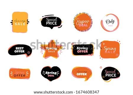 Cartoon Label set, vector background, special price poster, super sale badge illustration