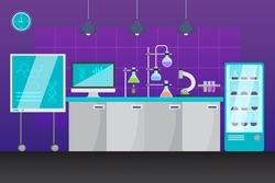 Cartoon laboratory room illustration Vector illustration.
