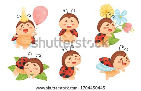 cartoon ladybug sleeping on