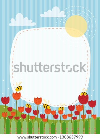 cartoon landscape of spring