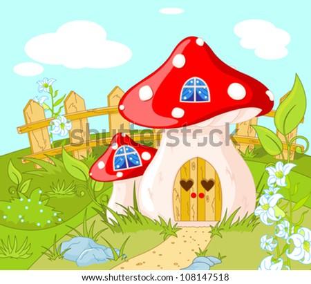 cartoon landscape with a house