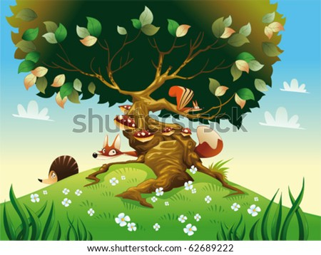 Cartoon landscape with animals. Vector illustration, isolated objects