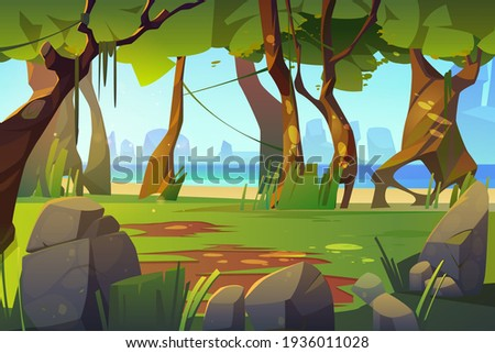 cartoon landscape with forest