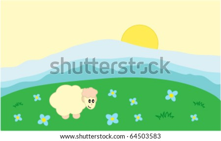 cartoon landscape with happy