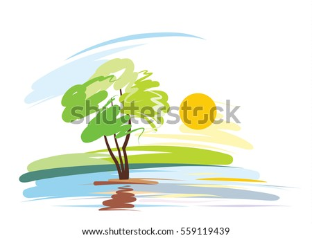 cartoon  landscape with river