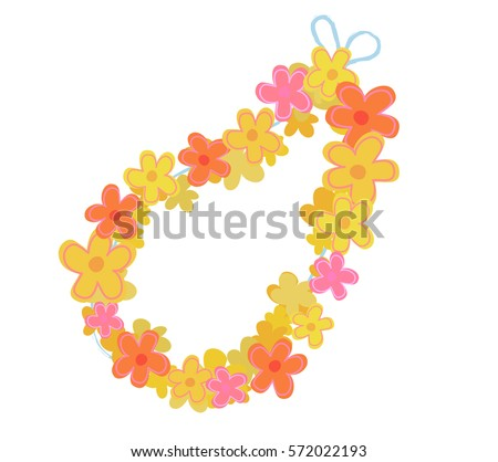 Cartoon lei flowers necklace.