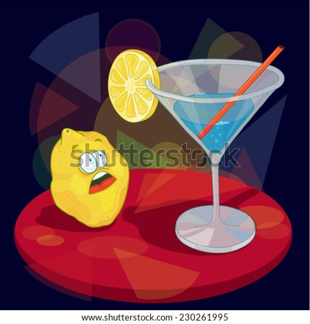 Cartoon lemon looking at cocktail. Scared character. Emotions. At the night club. Party. Funny style. Use for party flyers and web design. Cartoon vector illustration.