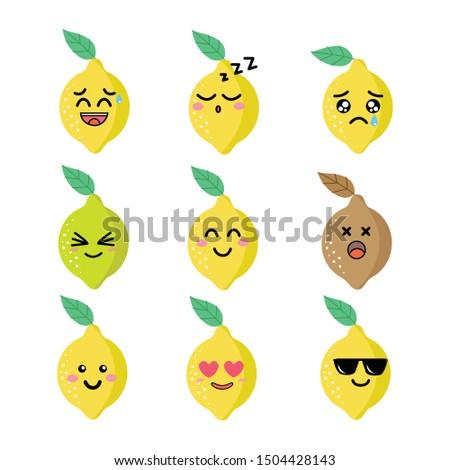 Cartoon lemon, smile face, happy face, cry face and sleepy face.