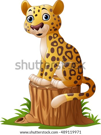 cartoon leopard sitting on tree