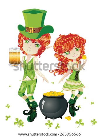 Cartoon leprechaun boy and girl with treasure pot on a grass field.