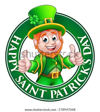 Cartoon Leprechaun character in a circle reading happy St Patricks Day and giving a thumbs up
