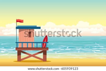 cartoon lifeguard house on