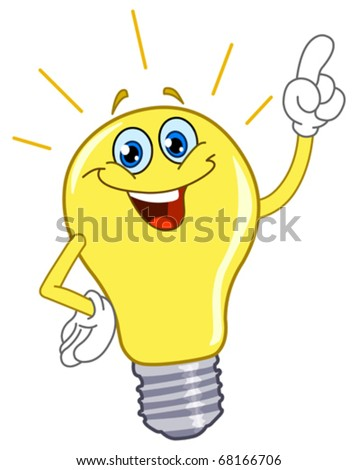 Cartoon light bulb - stock vector