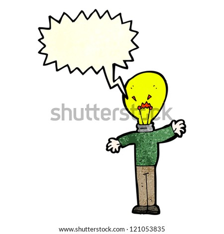 cartoon light bulb head man