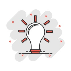 Cartoon light bulb icon in comic style. Idea illustration pictogram. Lamp sign splash business concept.