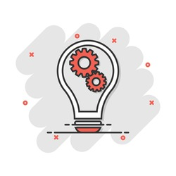 Cartoon light bulb with gear icon in comic style. Idea illustration pictogram. Lamp sign splash business concept.