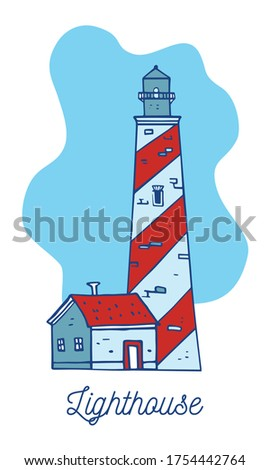 cartoon lighthouse and small
