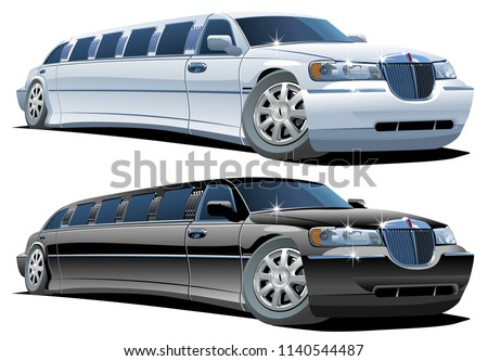 Cartoon limousine  isolated on white background. Available EPS-8 vector format separated by groups and layers for easy edit