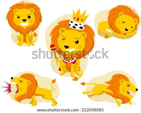 cartoon lion action set  king