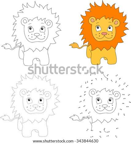 Cartoon lion. Dot to dot educational game for kids. Vector illustration