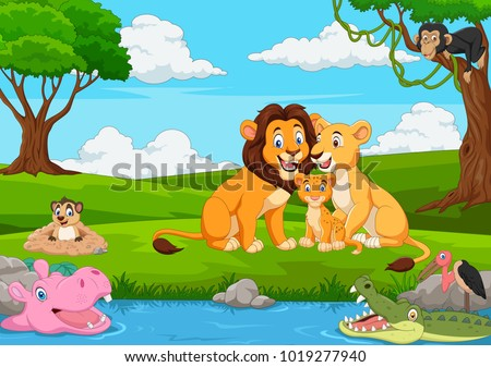cartoon lion family in the