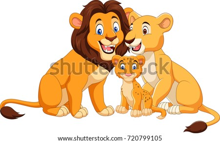 cartoon lion family isolated on