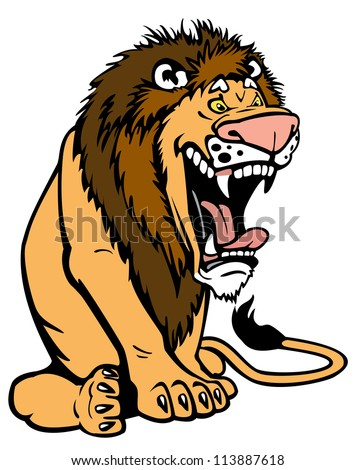 cartoon lion,vector picture isolated on white background,sit pose
