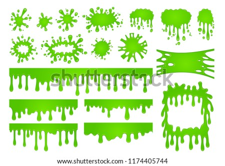 Cartoon liquid slime. Green goo paint drops, spooky splash drop border and scary dripping spooky halloween decorative stain, ink toxic sticky texture vector isolated symbols set