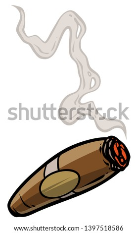 Cartoon lit cigar with smoke. Isolated on white background. Vector icon. ストックフォト ©