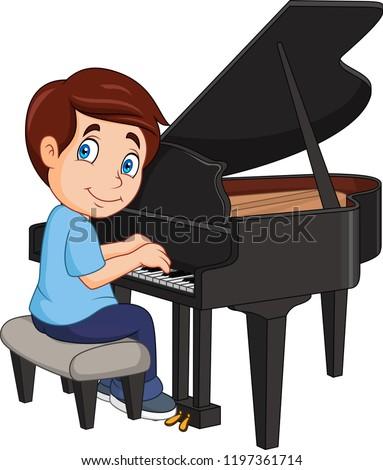 cartoon little boy playing piano