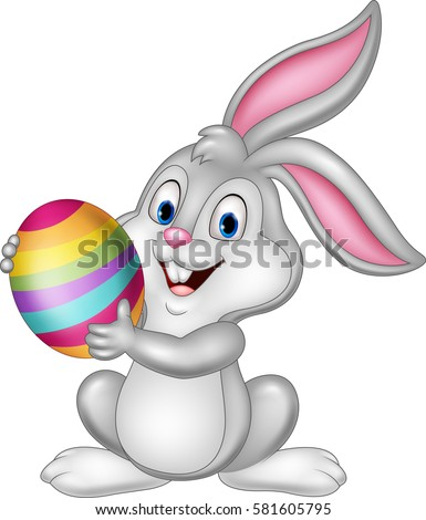 cartoon little bunny holding