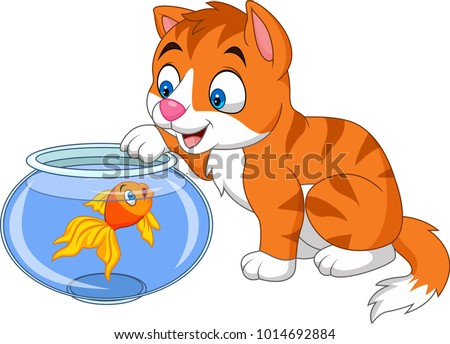 Cartoon little cat playing with gold fish