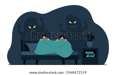 Cartoon little children afraid of ghosts in darkness. Flat vector illustration. Kids trembling and hiding under covers from scary ghost shadows on wall behind. Childhood, fear, mystery concept