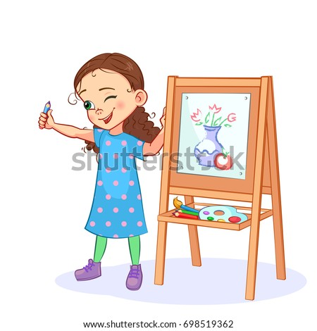 Cartoon little girl draws a picture with paints and pencils on the easel. Artist with a naked eye measures objects, squinting and stretching out her hand. Vector kids art.