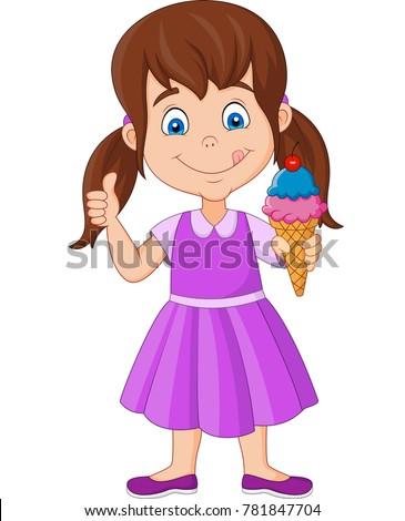 Cartoon little girl holding an ice cream