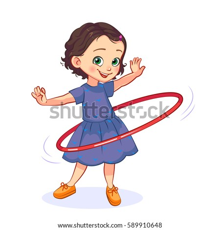 Cartoon little girl spins the hula hoop around the waist. Children's active games vector illustration.