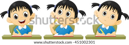 cartoon little girl studying