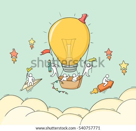 cartoon little people fly in