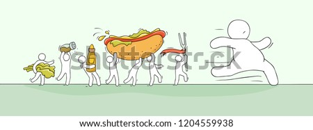 Cartoon little people pursuit fat man. Doodle cute miniature scene of men with fast food. Hand drawn vector illustration for healthy design.