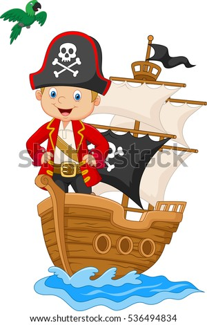 cartoon little pirate on his
