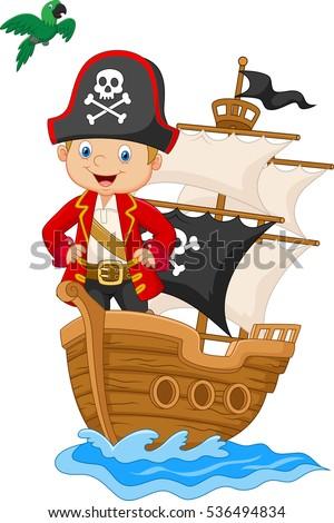 cartoon little pirate on his