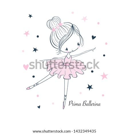 Cartoon little Prima Ballerina. Simple linear isolated vector graphic on a white background. Fashion illustration for kids clothing. Use for print, surface design, fashion wear Stockfoto ©