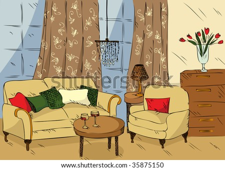 Dining Room on Cartoon Living Room Stock Vector 35875150   Shutterstock