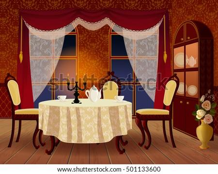 cartoon living room interior in