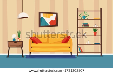 Cartoon living room with furniture and plants. Cozy interior with sofa, bookcase and nightstand. Flat style vector illustration. Сток-фото ©