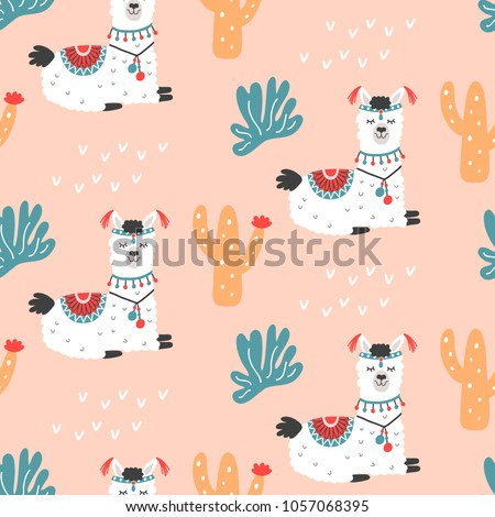Cartoon Llama Alpaca seamless repeat pattern. Hand drawn nursery childish textile print. Bold fabric design, gift wrapping paper, wall art, home decor. Vector illustration.