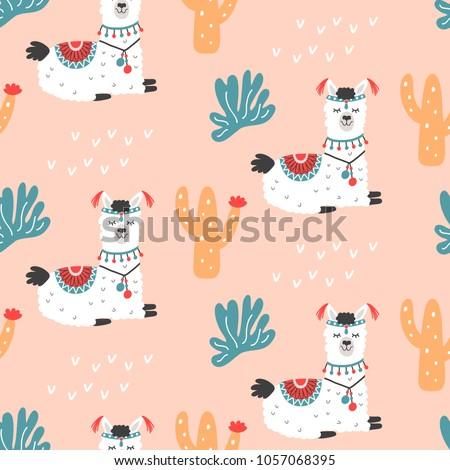 Cartoon Llama Alpaca seamless repeat pattern. Hand drawn nursery childish textile print. Bold fabric design, gift wrapping paper, wall art, home decor. Vector illustration.
